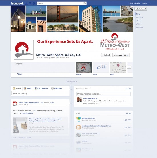 Metro-West Small Business Facebook Timeline Page