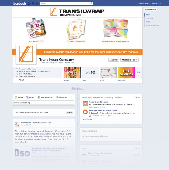 Transilwrap Small Business Facebook Timeline Page