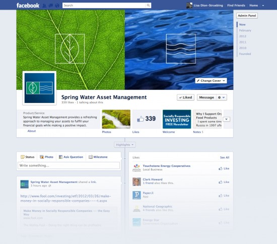 Spring Water Asset Management Small Business Facebook Timeline Page
