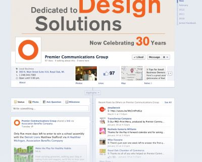 Small Business Facebook Timeline Page Showcase